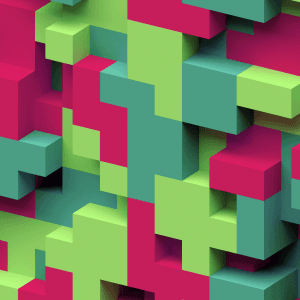 Green and pink blocks stacked together