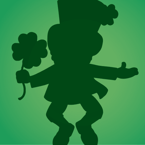 Silhouette of a leprechaun leaping on a green background